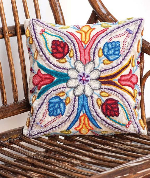 Flowers On White Butterfly Wing Design Cushion Cover