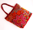 Flowers On Rust Red Tote Bag