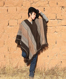 Alpaca Wool Poncho: José Luis Men's Alpaca Poncho Natural Colors Block Stripe Poncho