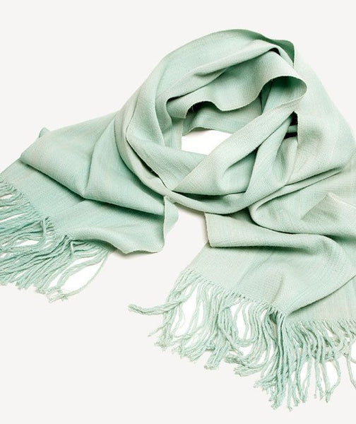 K'ata Wide Baby Alpaca Scarf Shawl- Pale Turquoise