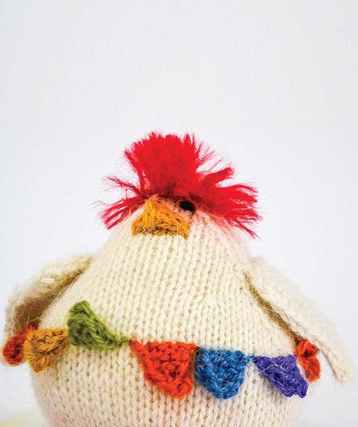 Hand Knit Stuffed Chicken Toy, Cream with Colorful Crest and Belt