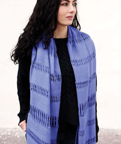 Lucia Royal 100% Alpaca Scarf with Cutouts- Sapphire Blue