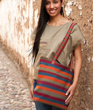 Peruvian Andean design woven textile striped shoulder bag