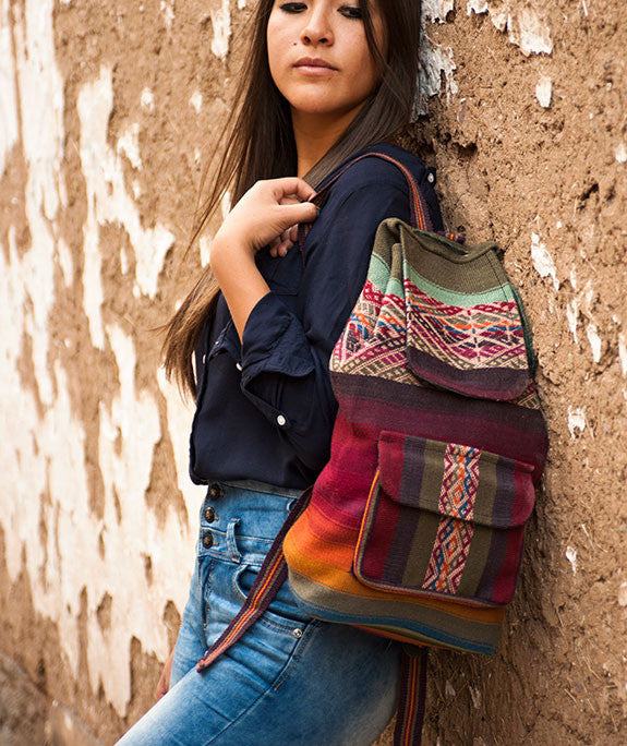 Peruvian textile woven wool backpack