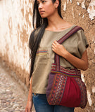 Peruvian Andean design woven textile handbag with zipper