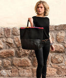 Qhapag Black Tote Bag with Colorful Trim