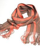 Saya 100% Baby Alpaca Scarf- Ash Brown with Coral