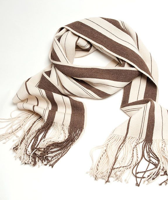 Saya 100% Baby Alpaca Scarf- Cream with Ash Brown