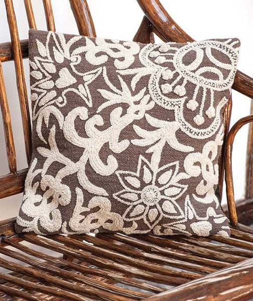100% Wool Sandy Tones Cushion Cover- Peru, Floral Throw Pillow