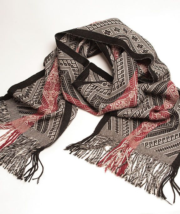 Sapa Wide 100% Baby Alpaca Scarf- Crimson and Charcoal