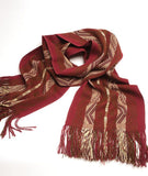 Sapa Wide 100% Baby Alpaca Scarf- Onyx and Crimson
