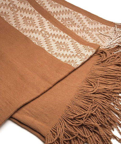 Inca Design Alpaca Throw- Vicuña Tan; Peruvian Alpaca Throw Blanket
