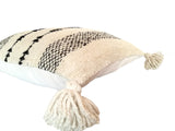 Upis Handwoven Wool Pillow - Cream & Coal