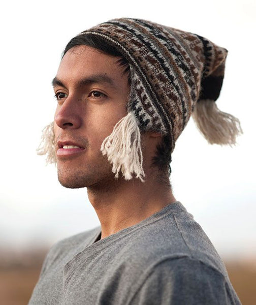 100% Baby Alpaca Toque Chullo Hat- Natural
