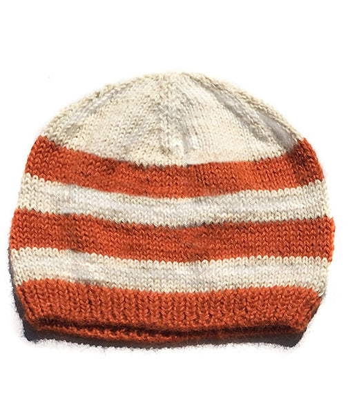 striped baby hat,  handmade baby hat, orange striped hat,  baby beanie, striped baby beanie, alpaca baby hat