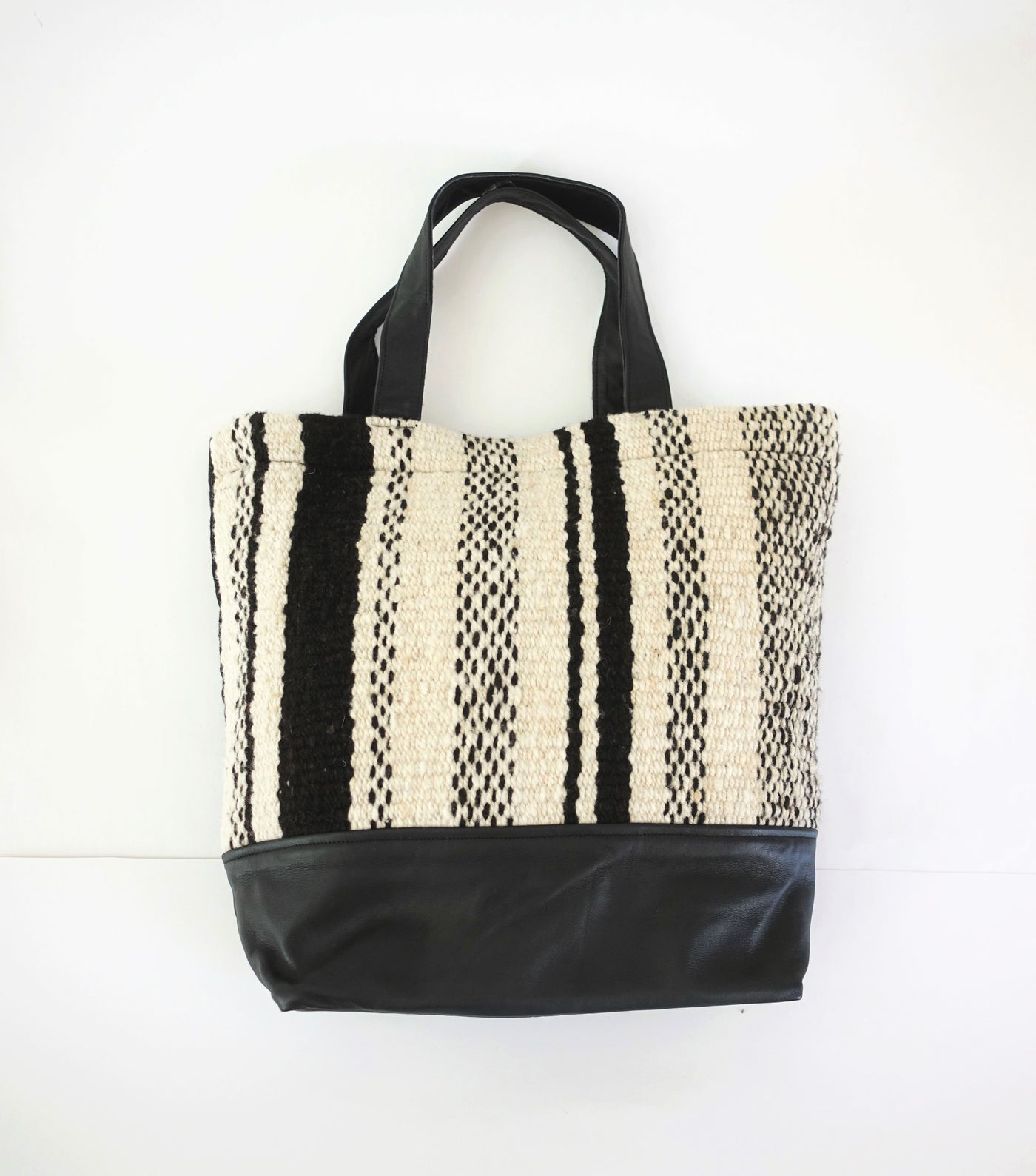 Chunky Wool Tote Bag - Cream & Black