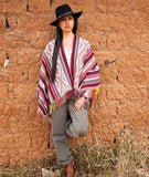 Womens Poncho Cape - Carolina Elegant Alpaca Ruana Wrap (Reds, Pinks, Grays, White)