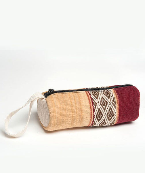 Lares Hand Woven Colorful Pencil Case -Crimson, Peru Pencil Case,  Tribal Pencil Case, Woven Pencil Case