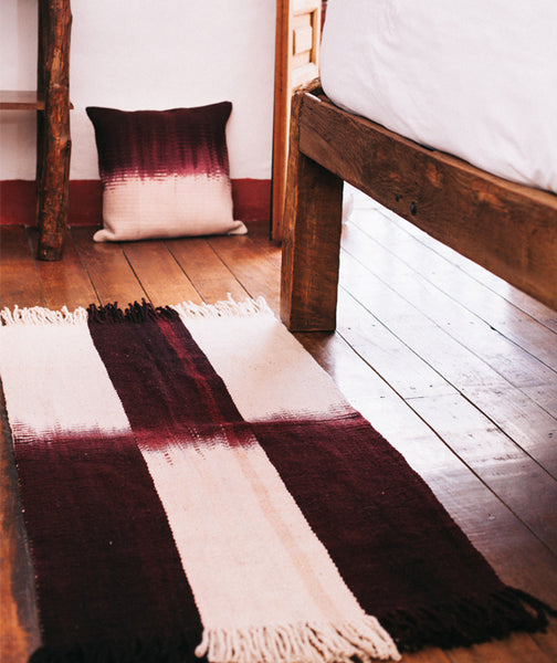 Tuta Fringe Wool Area Rug and Throw Pillow Set