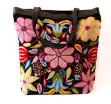 Flowers on Black Tote Bag