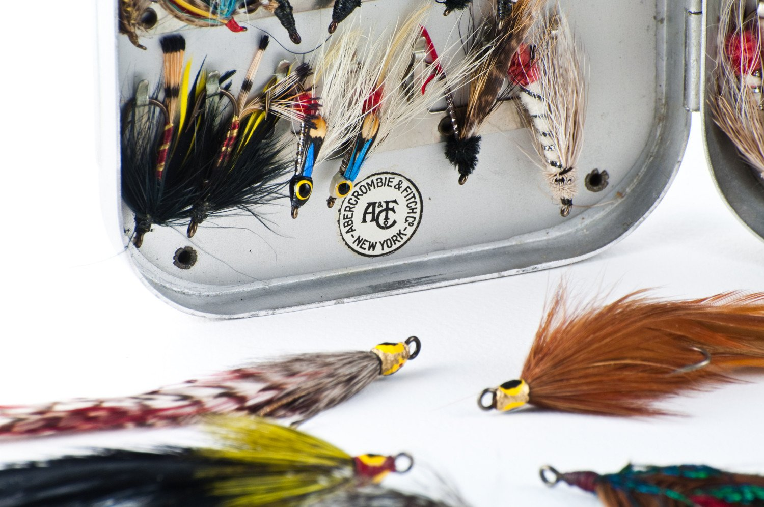 Wheatley Fly Box / Abercrombie & Fitch - with salmon flies