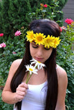 Elastic Yellow Daisy Headband #C1041