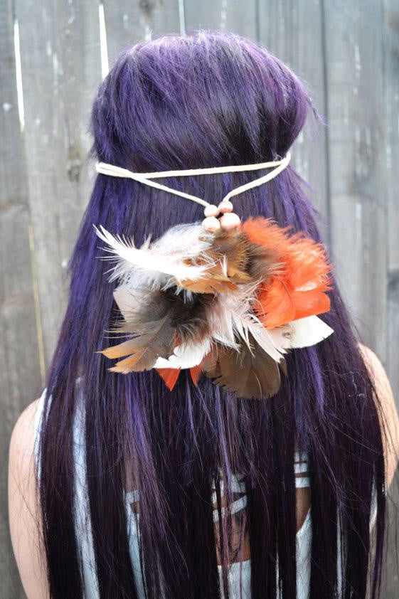 Fluffy Feather Headband #B1015