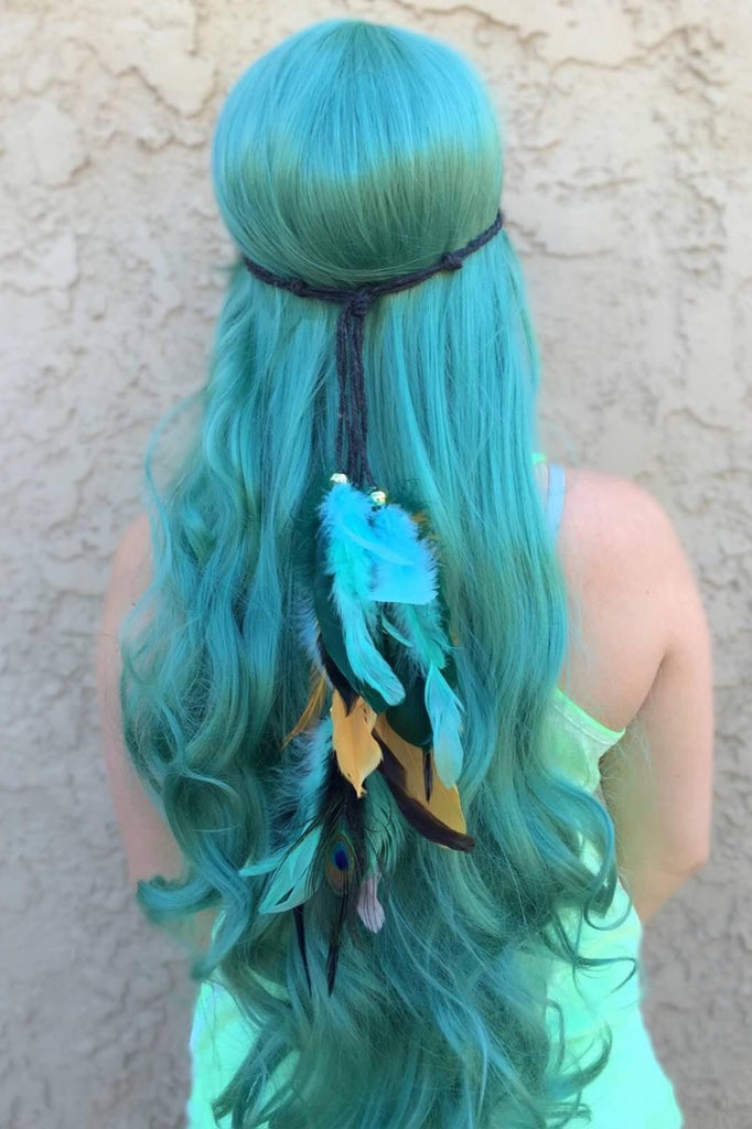 Teal Feather Headband #B1058