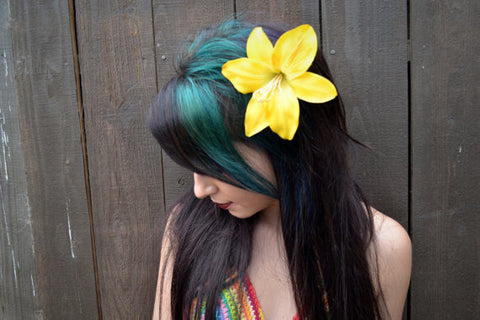 Yellow Hibiscus Hair Clip #F1002