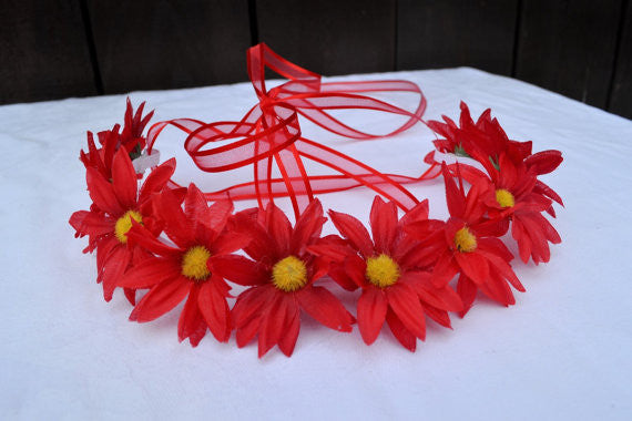 Red Elastic Daisy Headband #C1036