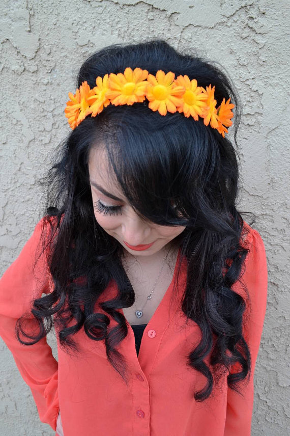 Orange Daisy Headband #C1054