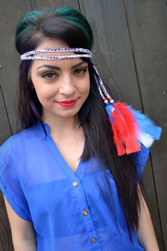 Patriotic Feather Headband #B1004