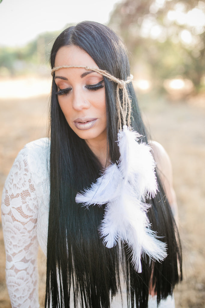White Feather Headband #B1016