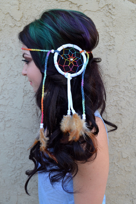 Medium Rainbow Dreamcatcher Headband #A1006