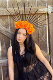 Orange & Black Spike Crown #L1012