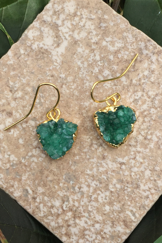 Green Druzy Earrings #H1014