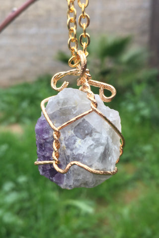 Fluorite Stone Necklace #I1005
