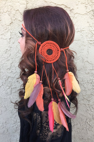 Burnt Orange Mandala Headband #A1033