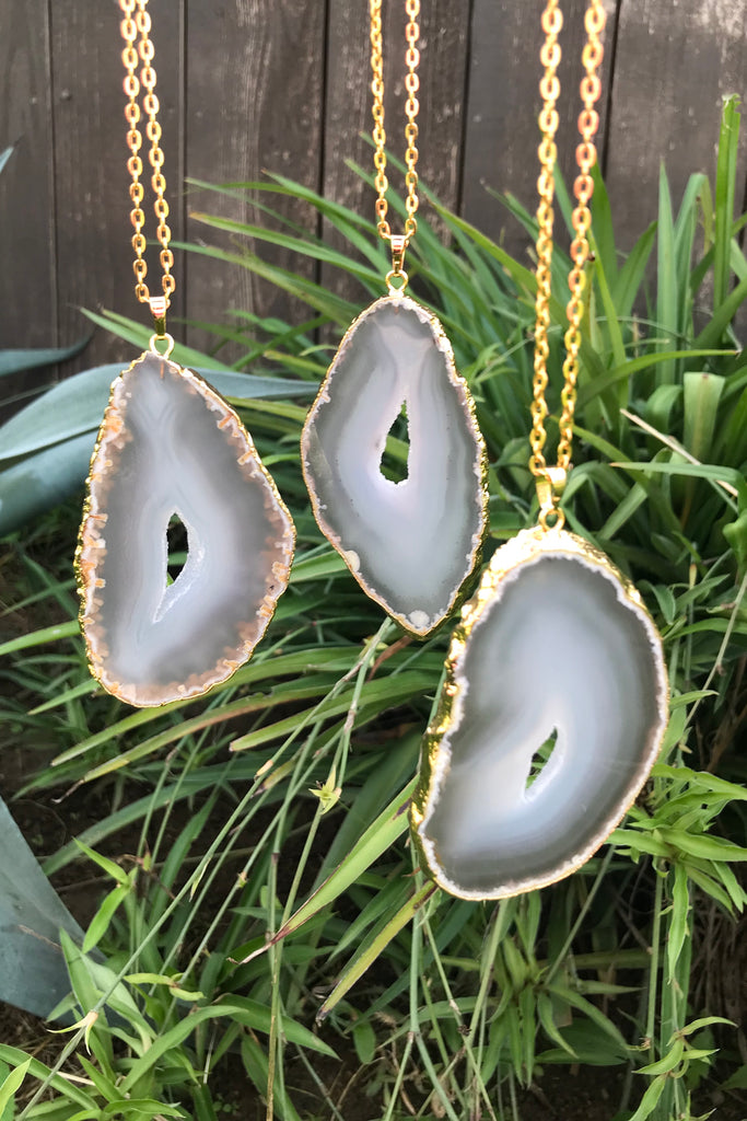 Agate Slice Necklace #I1123