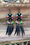 Rainbow Feather Earrings #H1024