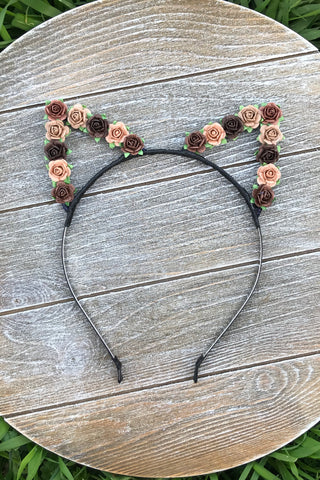 Brown Floral Cat Ears #E1018