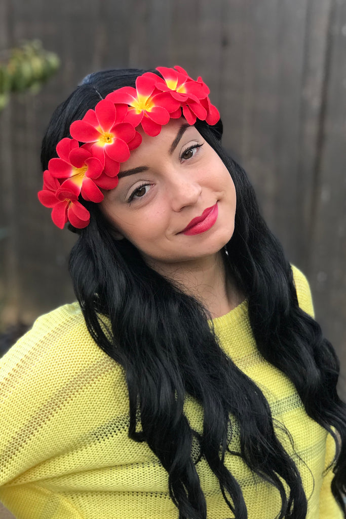 Red Plumeria Headband #C1094