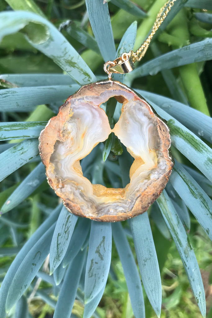 Yellow Agate Slice Necklace #I1140