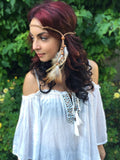 Leather Feather Headband #B1032