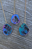 Titanium Geode Slice Necklace #I1187