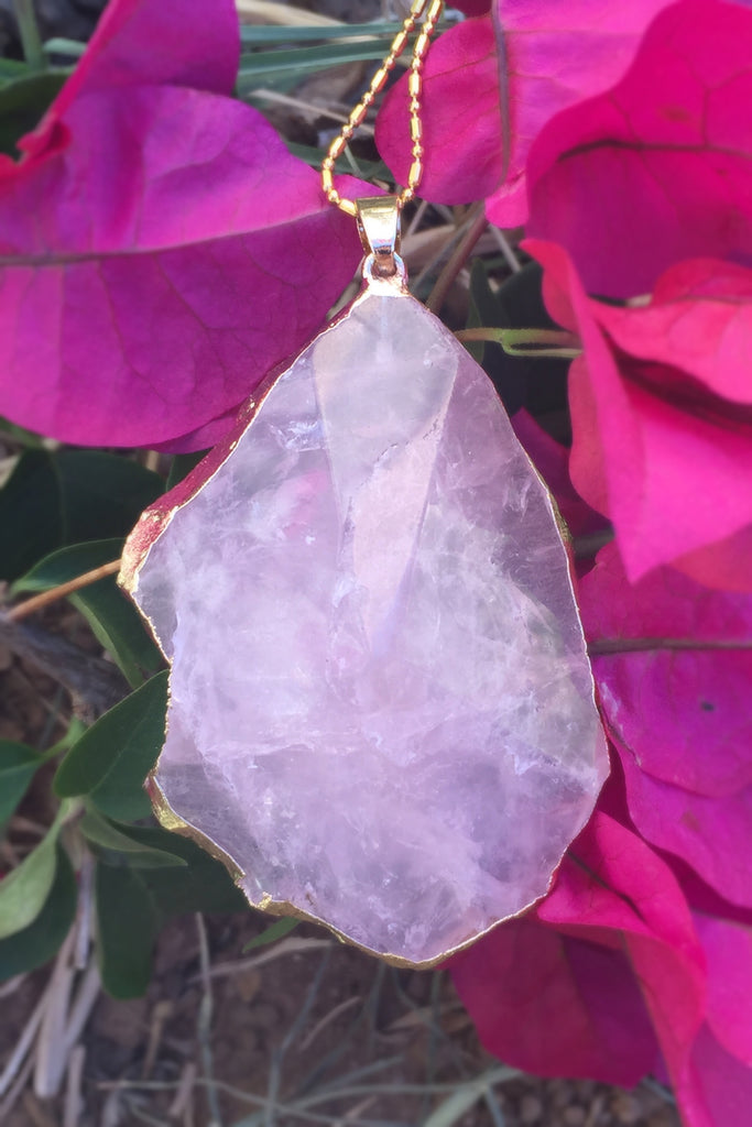 Rose Quartz Gem Stone Necklace #I1031