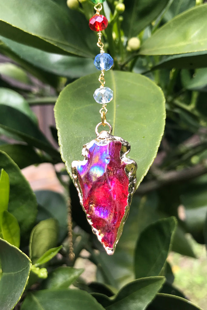 Red Arrowhead Crystal Necklace #I1144
