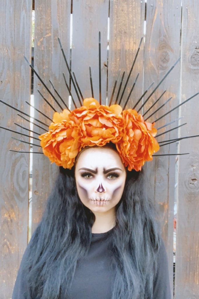 Orange & Black Spike Crown #L1009