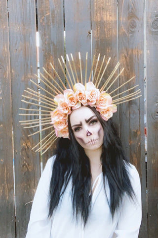 Blush & Gold Spike Crown #L1010