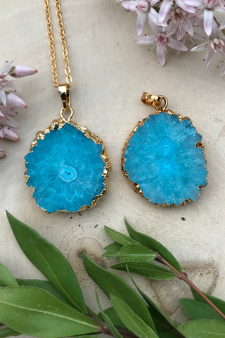 Blue Solar Quartz Necklace #I1026
